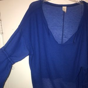Free People waffle stitched bell sleeve top